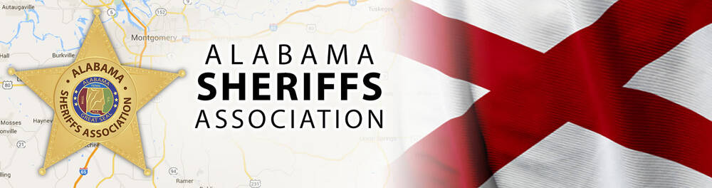 Alabama Sheriffs Association badge layered on top of a map showing their location. Also featured is a portion of their flag.