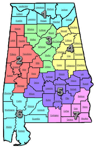 Alabama State map with counties highlighted based on county sections