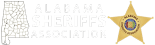 Text reading Alabama Sheriffs Association. Also featured is a state map of Alabama as well as their association badge.